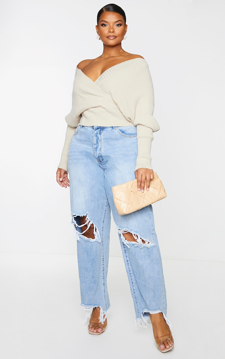 Plus Stone Wrap Off The Shoulder Sweater 3