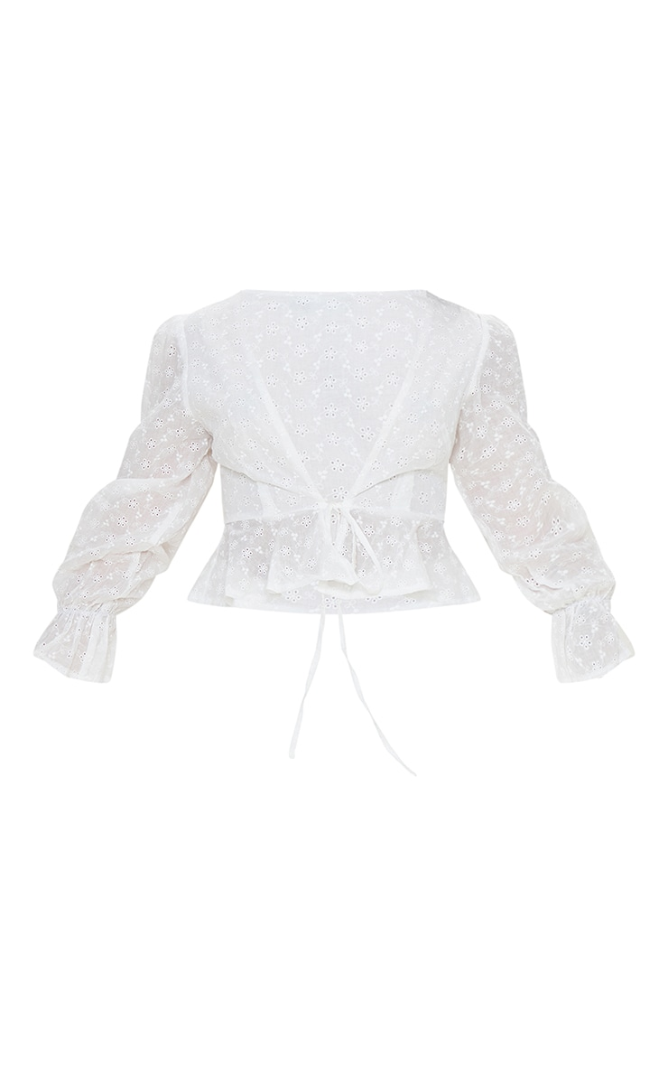 Petite White Broderie Anglaise Long Sleeve Blouse 5
