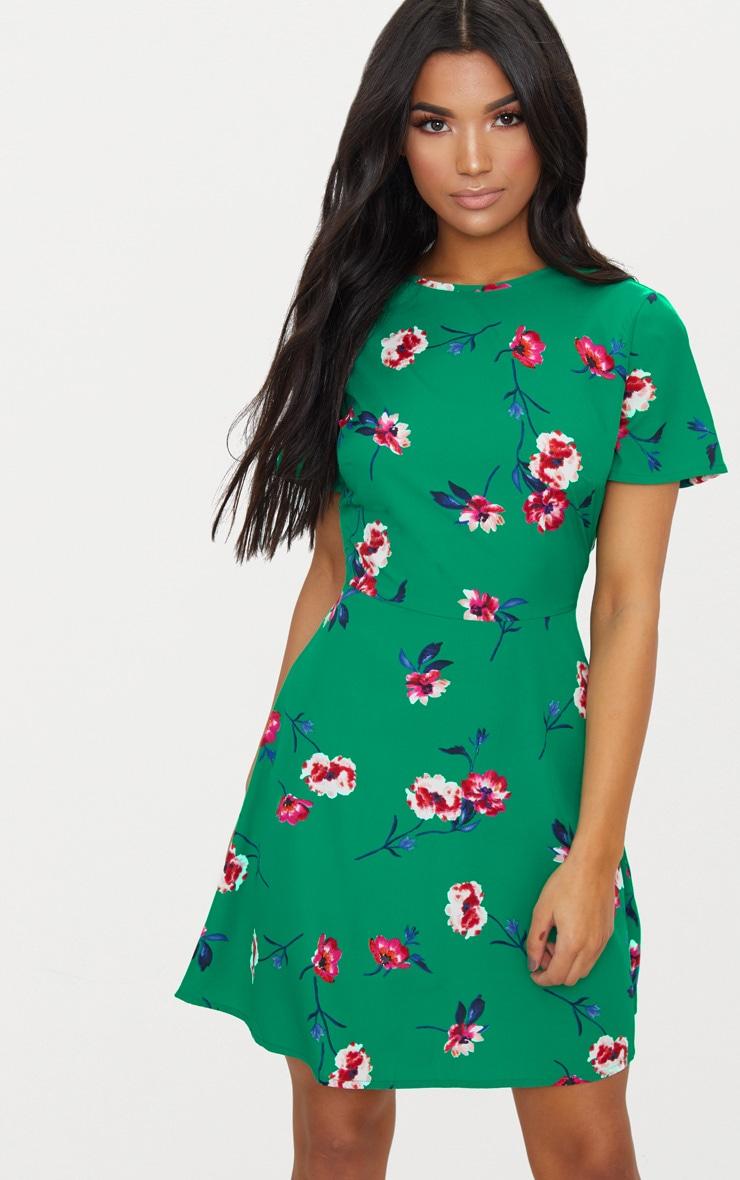 Emerald Green Floral Frill Back Tea Dress 1