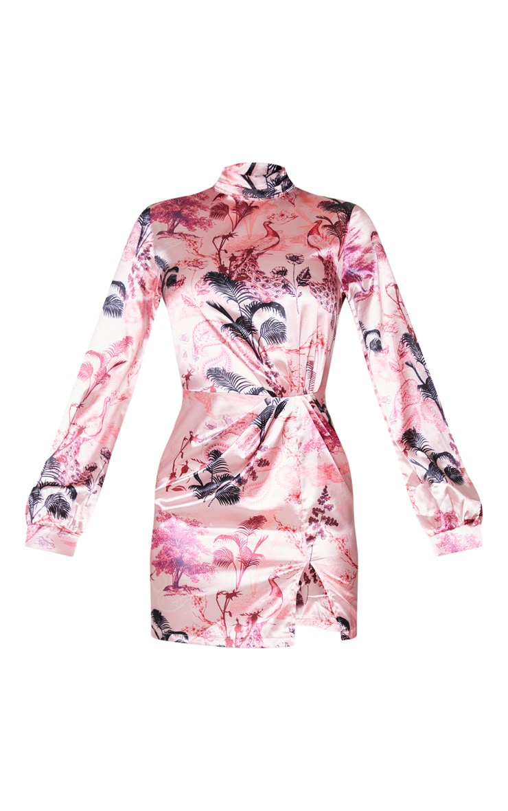 Tall Pink Oriental Print High Neck Split Satin Long Sleeve Dress 5