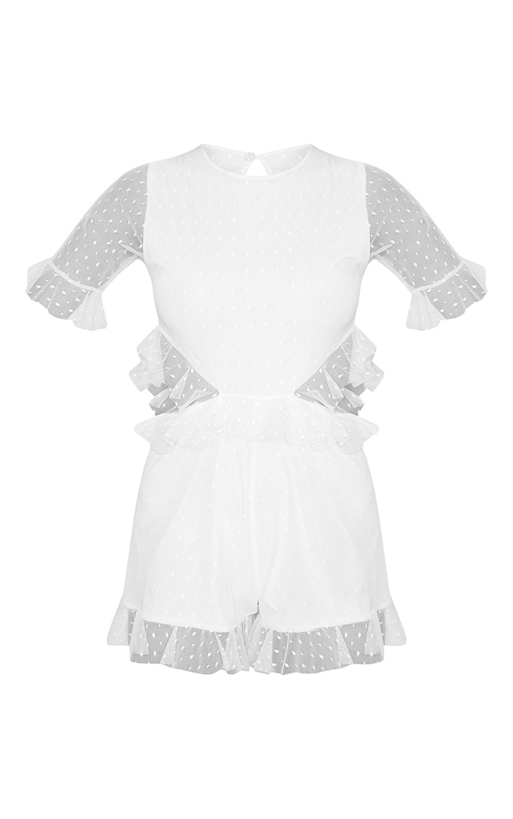 White Dobby Mesh Frill Cut Out Waist Romper 3