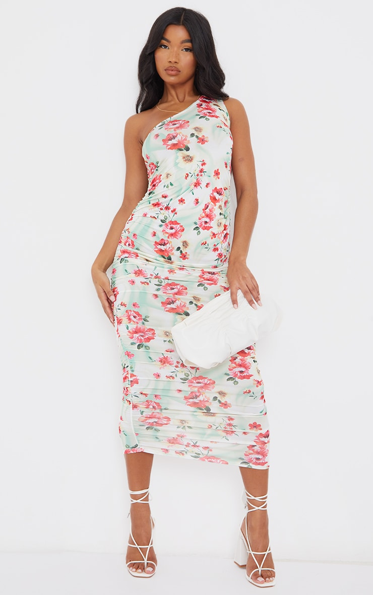 Multi Floral Print Slinky Ruched Midaxi Dress 1