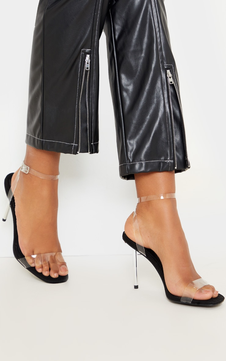Black Metal Pin Heel Clear Sandal 1