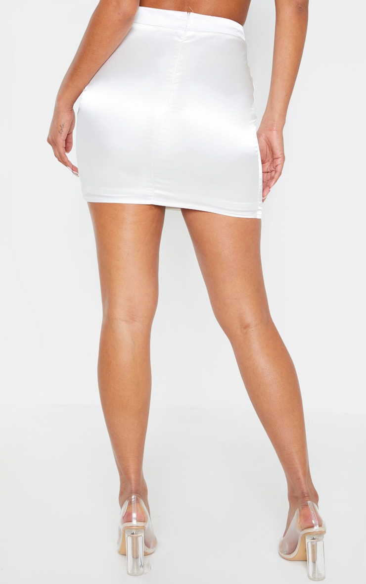 White Satin High Waisted Mini Skirt 4