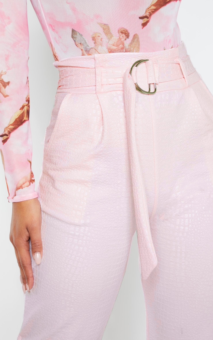 Light Pink Croc Print D Ring Belted Skinny Trousers 5