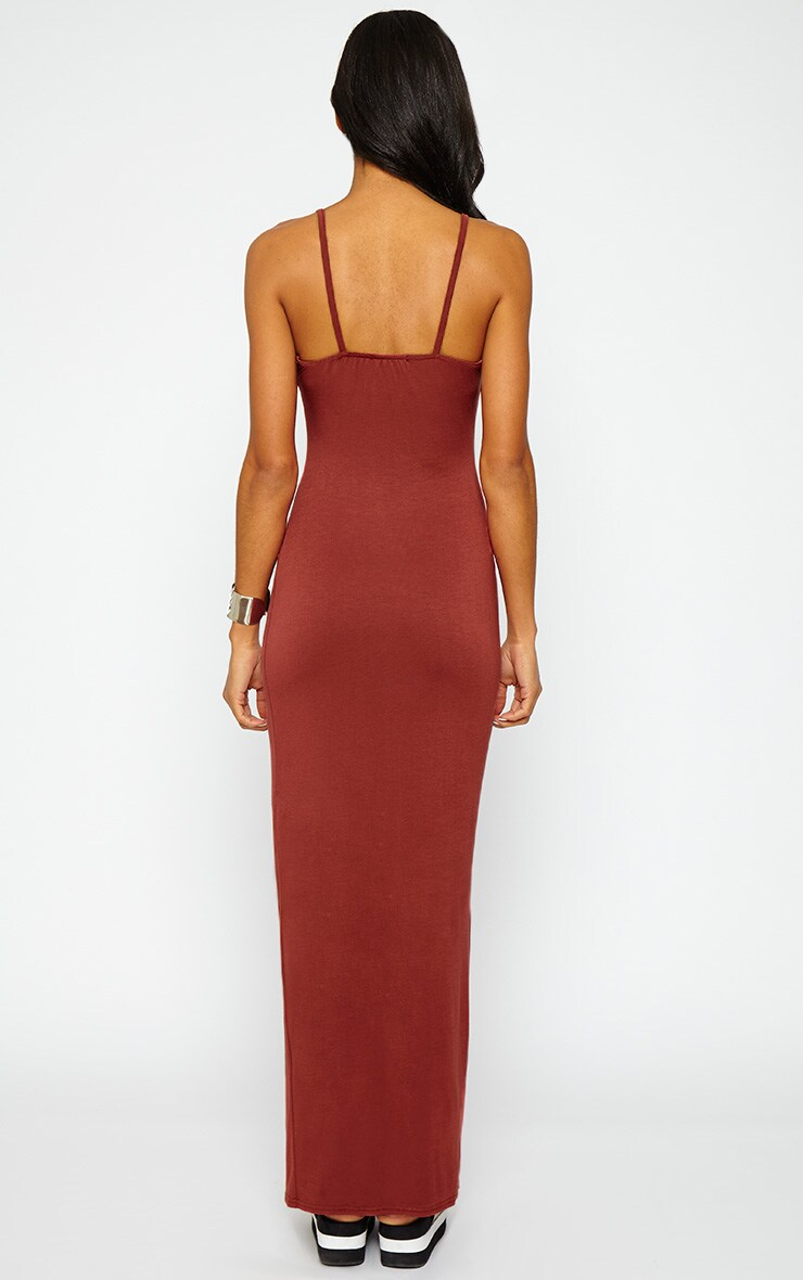 Aurelia Rust Front Slit Cami Maxi Dress 2