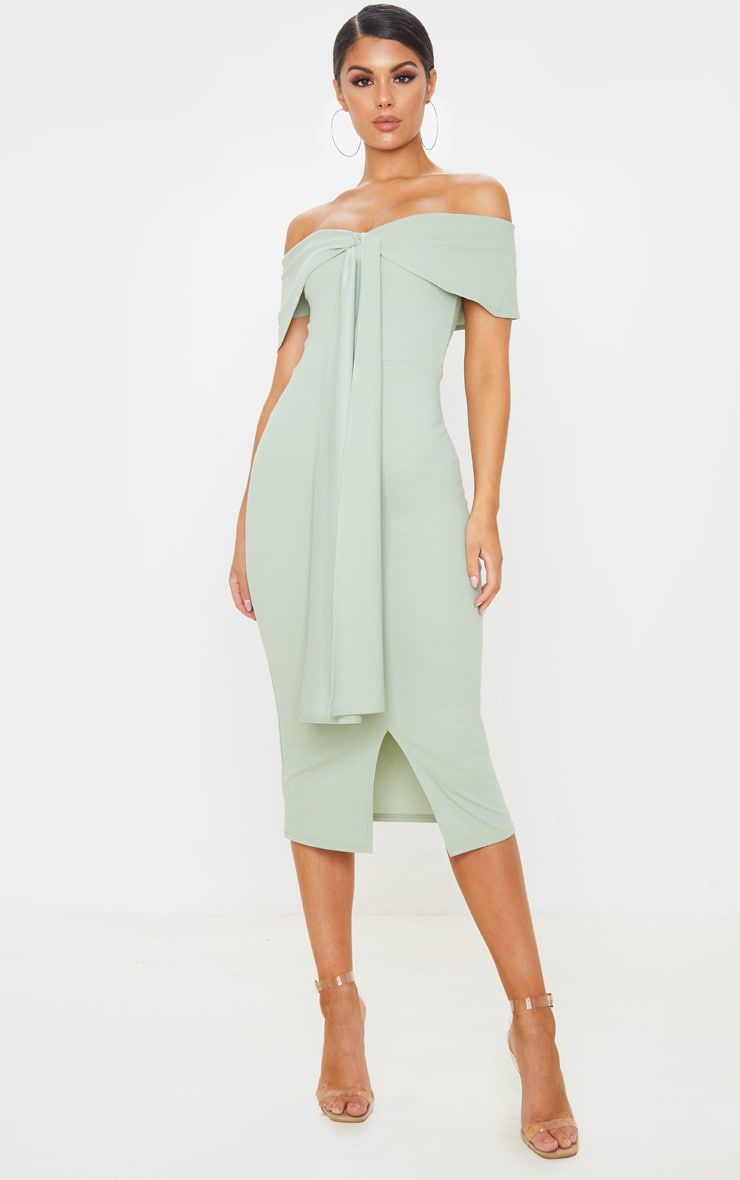 Sage Green Bardot Tie Drape Detail Midi Dress, Sage Green