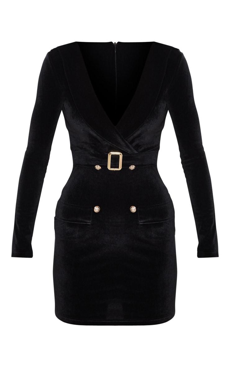 Black Velvet Gold Button Buckle Detail Blazer Dress 3