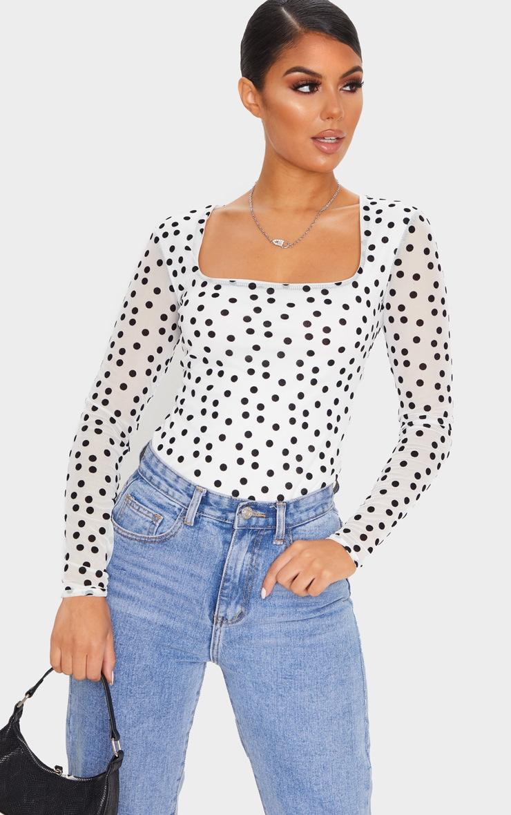 White Polka Dot Mesh Square Neck Bodysuit 1