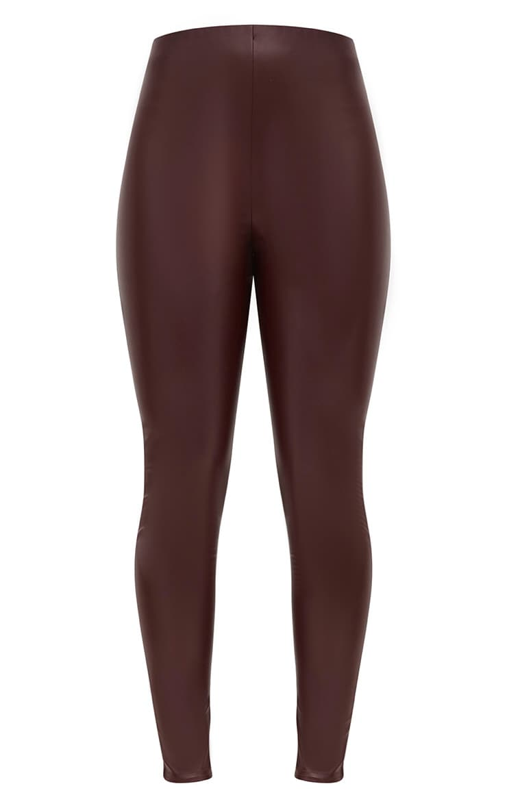 Burgundy Faux Leather Skinny Trousers 3