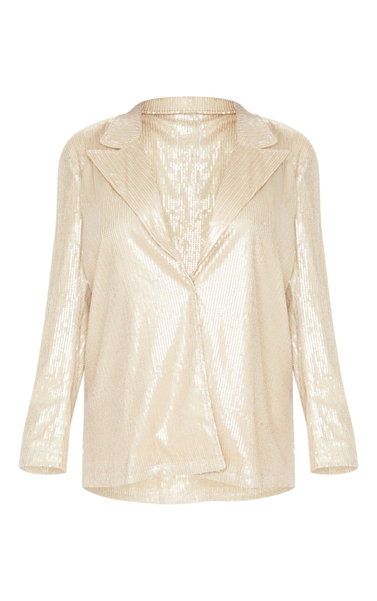 Gold Sequin Oversized Blazer 3