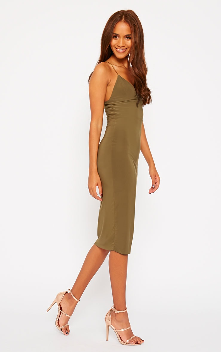 Deanna Khaki Slinky Cross Back Midi Dress 3