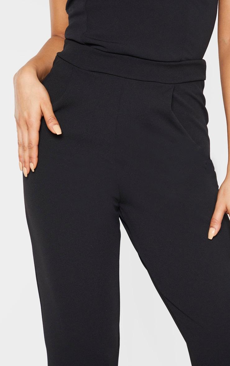 Tall Black Basic Roll Cuff Crepe Pants  5