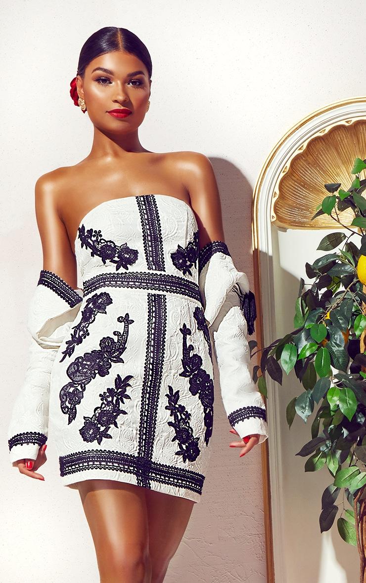 White Jacquard Black Embroidered Bandeau Bodycon Dress 1