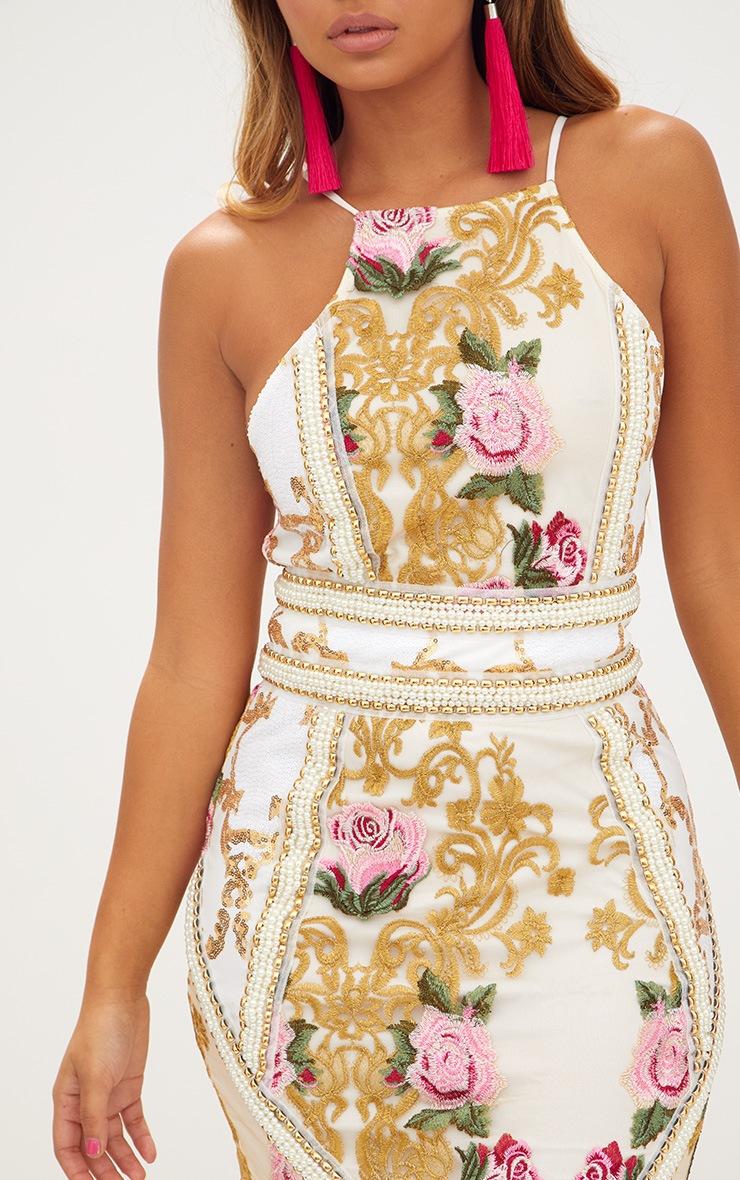 Premium White Embroidered Strappy Pearl Trim Bodycon Dress 5