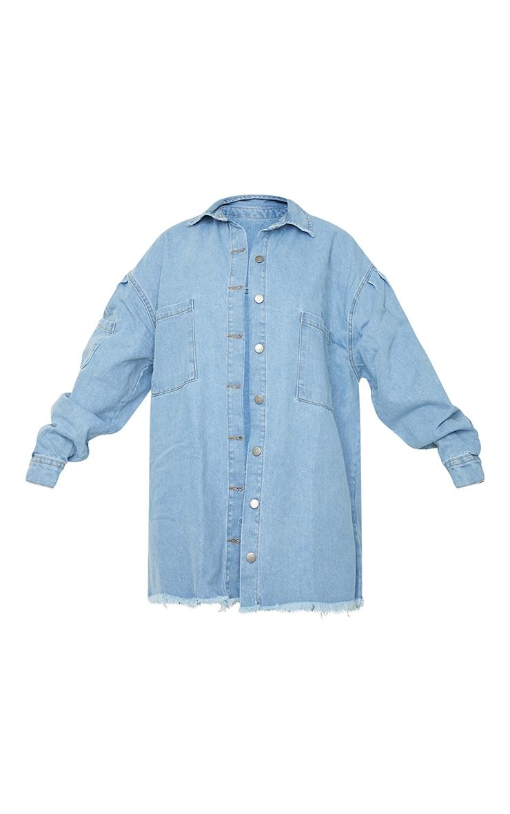 Light Blue Wash Frayed Hem Oversized Denim Shacket 5