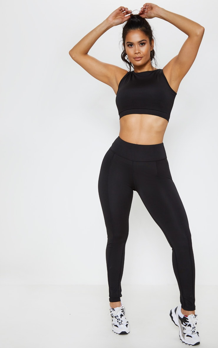Black Lace Back Cuff Gym Legging 1