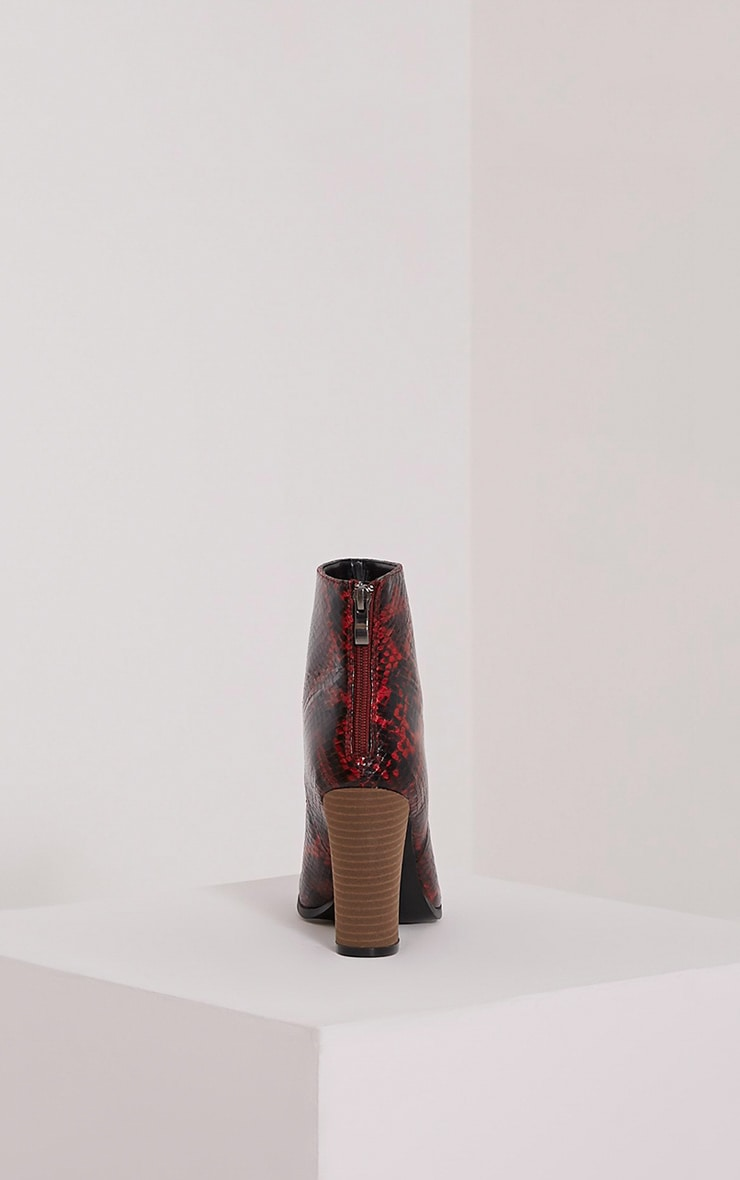 Becci Red Snakeprint Ankle Boots 4