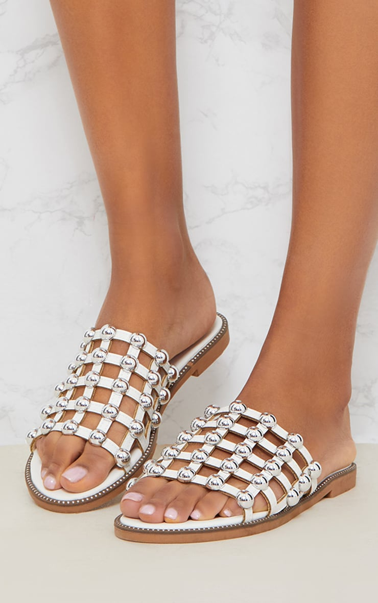 White Dome Studded Mule Sandal 2