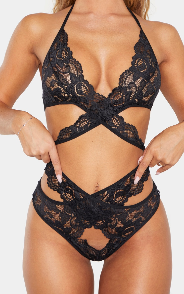 Black Scalloped Lace Wrap Over Bra And Knicker Set 5