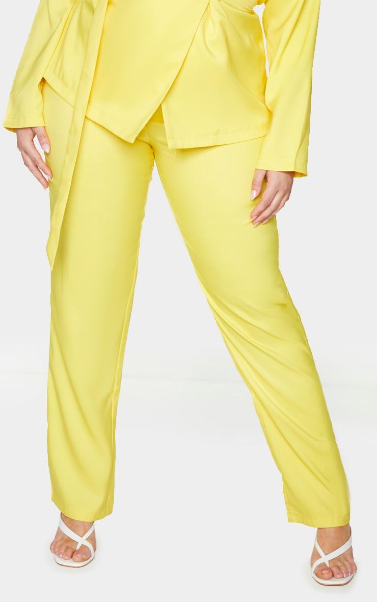 Plus Bright Yellow Tapered Straight Leg Pants 2