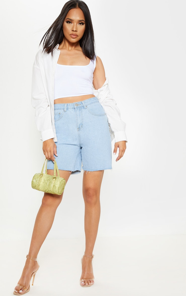 Light Wash Raw Hem Mom Shorts 1