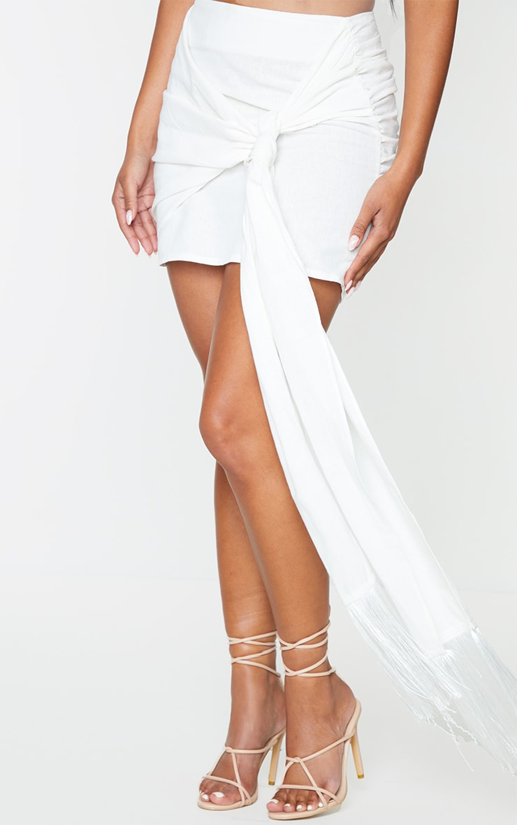 White Linen Feel Ruched Bum Extreme Tie Detail Mini Skirt 2