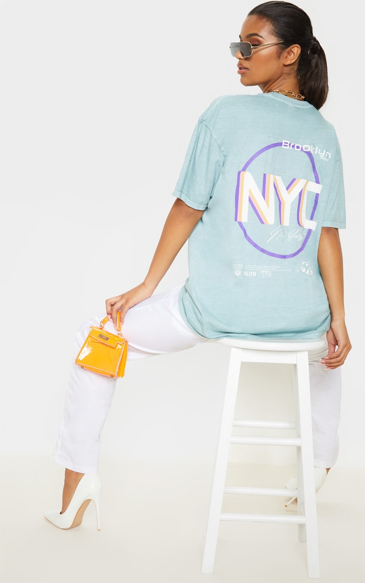 Sage Brooklyn Print Oversized Washed T Shirt 1