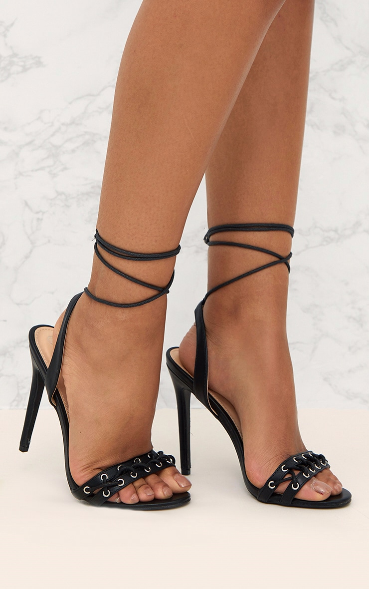 Black PU Lace Up Strap Heeled Sandals  1
