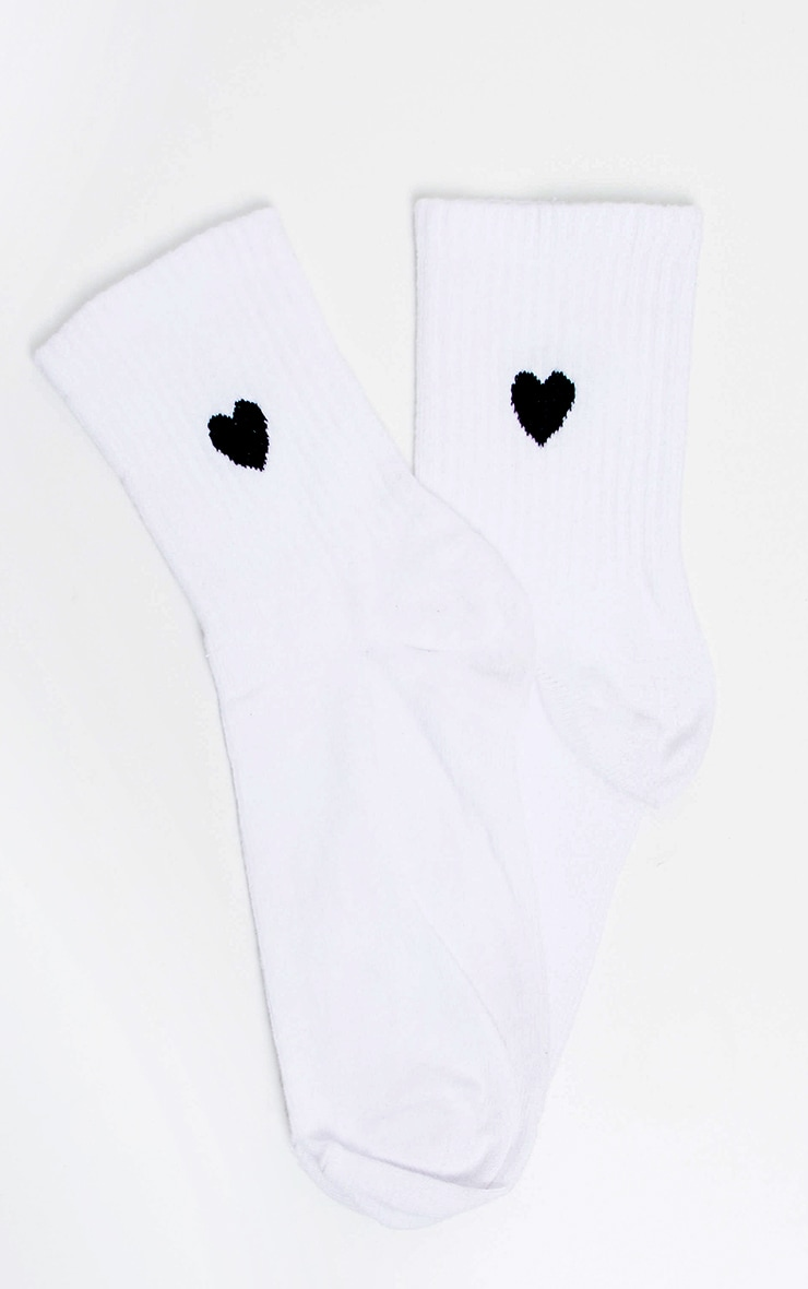 White Heart Knitted Socks 3