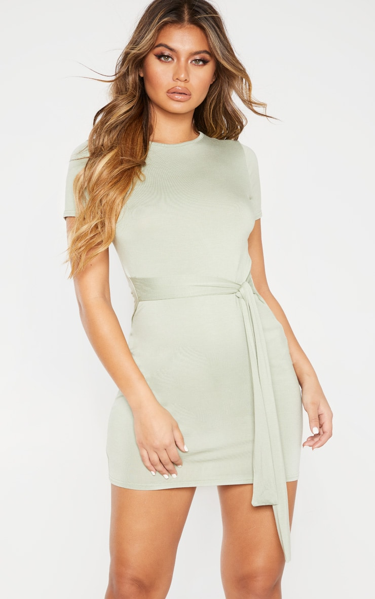 Sage Green Tie Waist T Shirt Dress 4