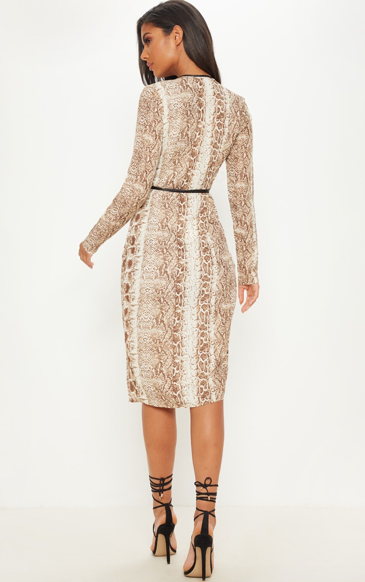 Tan Snake Print Binding Detail Wrap Midi Dress 2