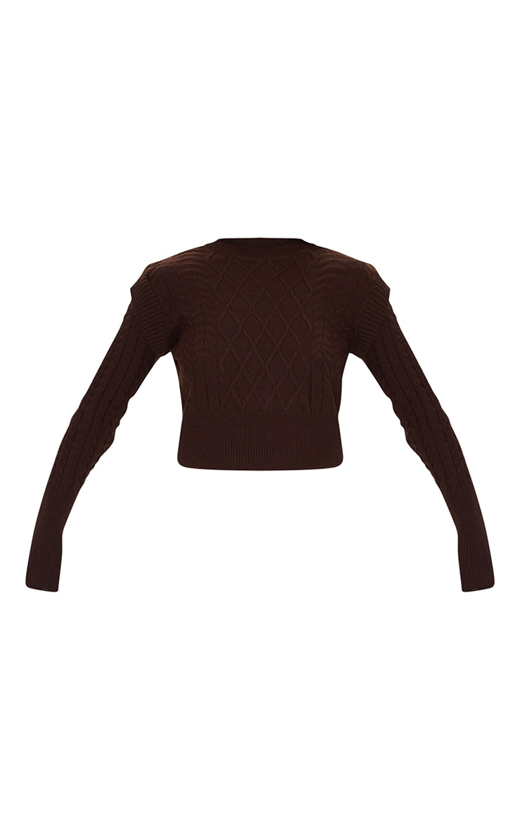 Chocolate Shoulder Detail Cable Knitted Jumper 5
