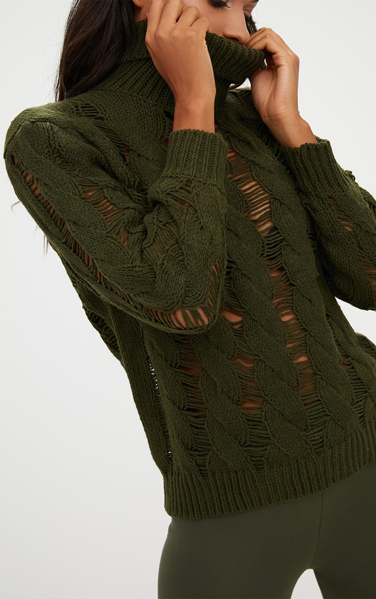 Khaki Roll Neck Distressed Knitted Jumper  5