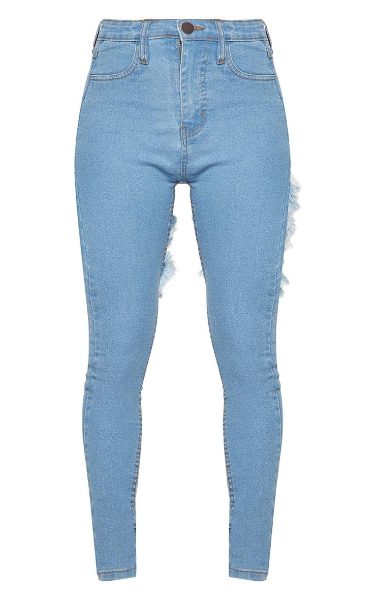 Petite Light Wash Bum Rip Detail Skinny Jeans 3