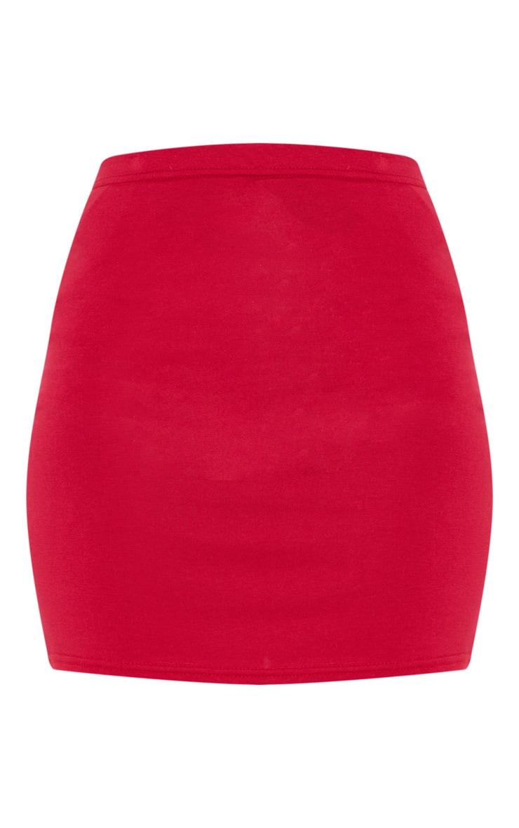 Crimson Basic Jersey Mini Skirt 3