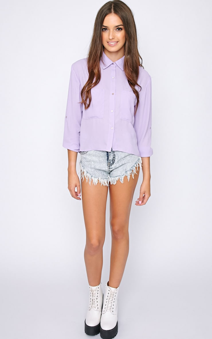 Arya Lilac Cropped Pearl Button Blouse 3