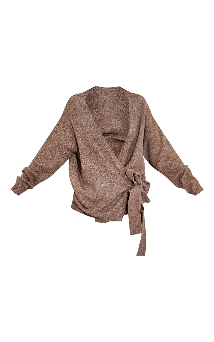 Recycled Mocha Knitted Tie Side Cardigan 5
