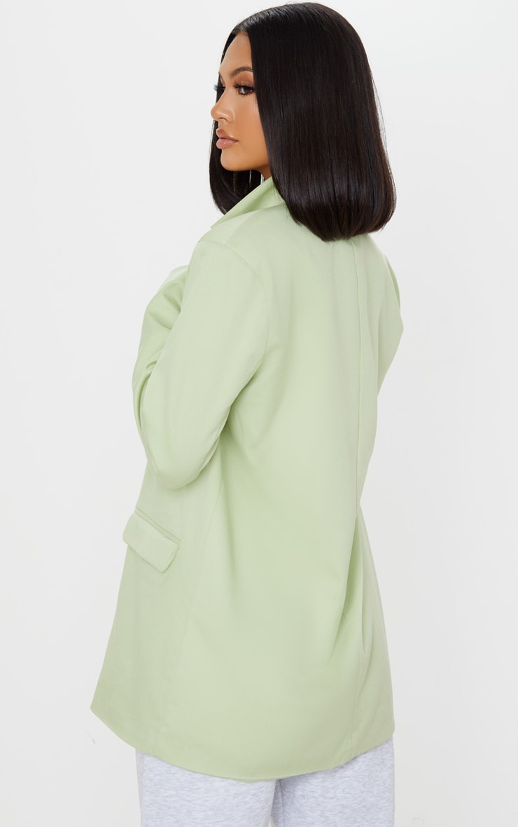 Apple Green Oversized Woven Blazer 2