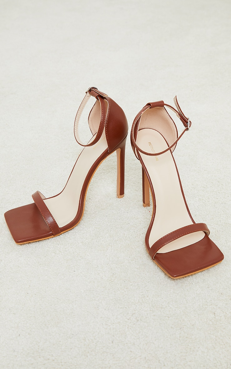 Chocolate PU Barely There Strappy Heeled Sandals 3
