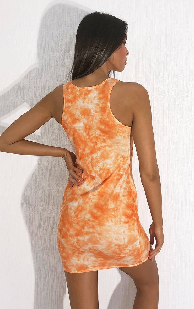 Orange Tie Dye Racer Neck Bodycon Dress 2