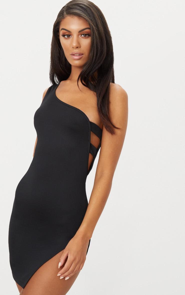 Black One Shoulder Strap Detail Extreme Split Bodycon Dress 1