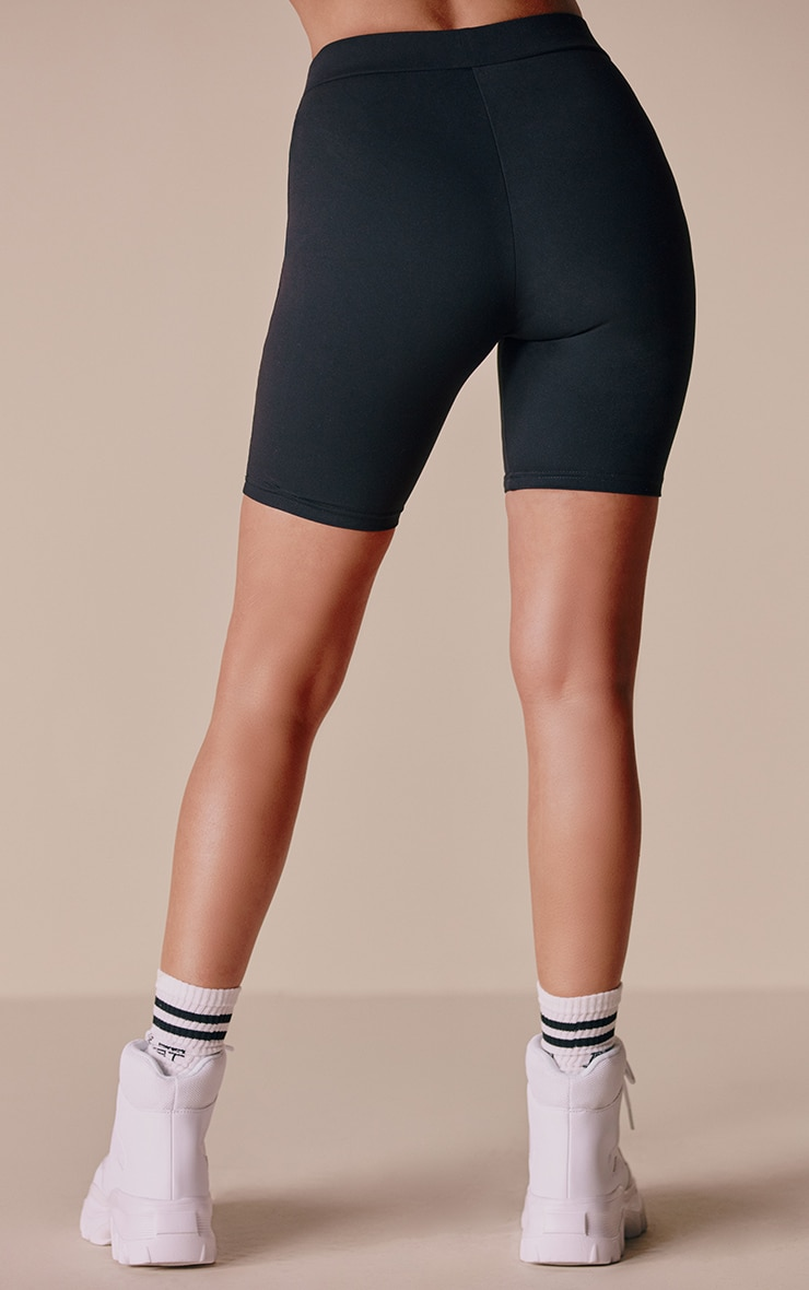 Black Contrast Bike Shorts 3