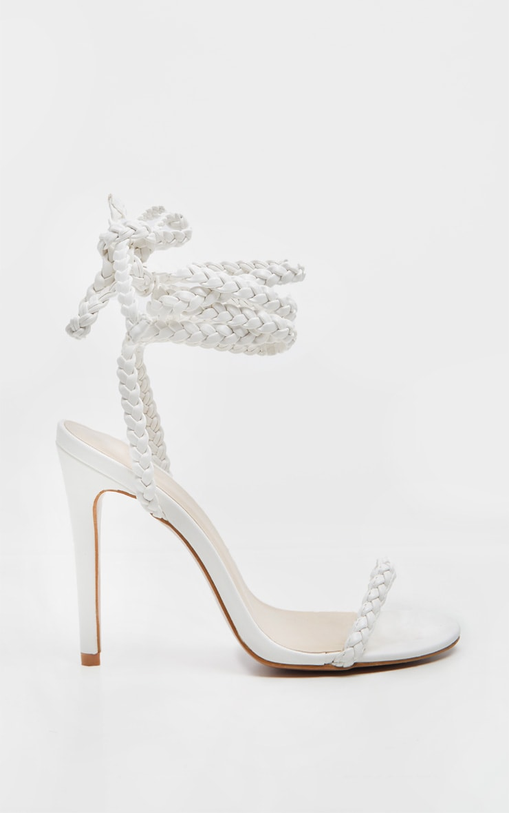 White Plaited Lace Up Ankle Tie Sandal 3