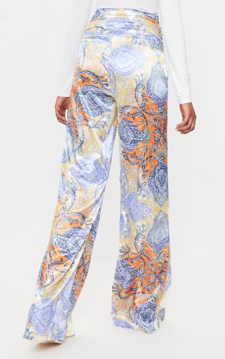 Multi Paisley Printed Satin Ruched Waist Wide Leg Pants 3