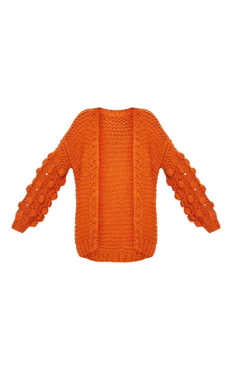 Rust Midi Length Bobble Sleeve Knitted Cardigan 3