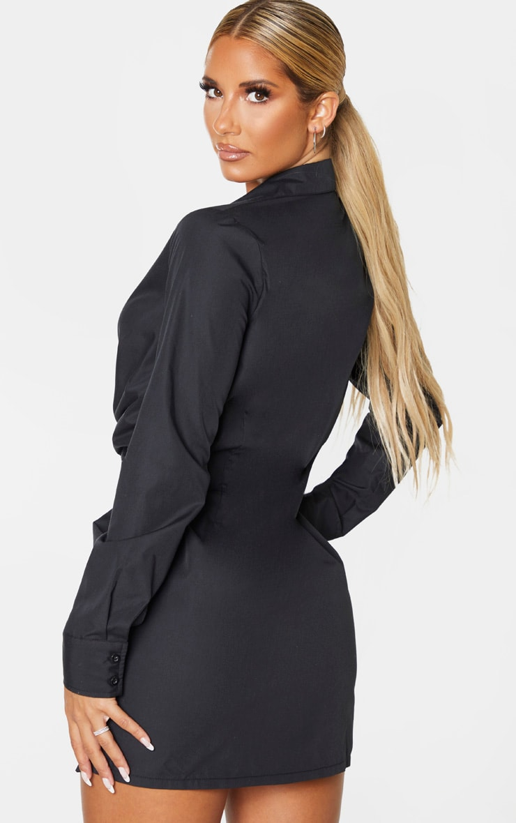 Black Plunge Knot Detail Shirt Dress 2