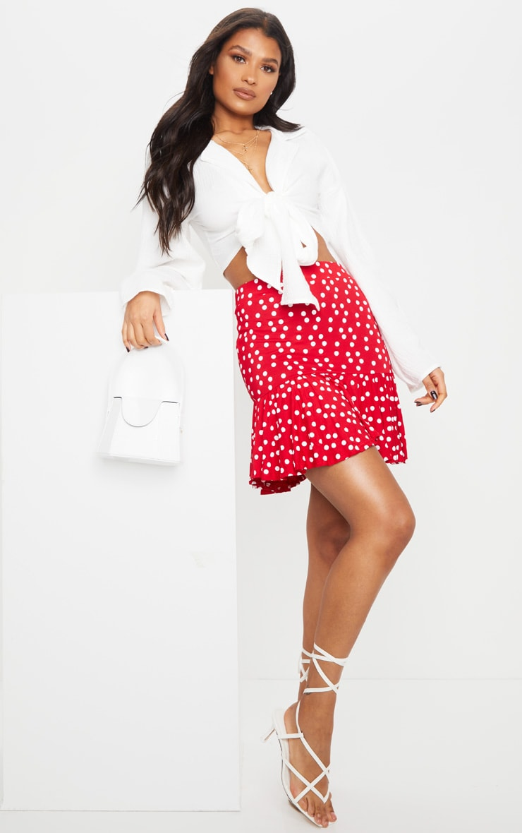 Red Polka Dot Frill Hem Mini Skirt 4