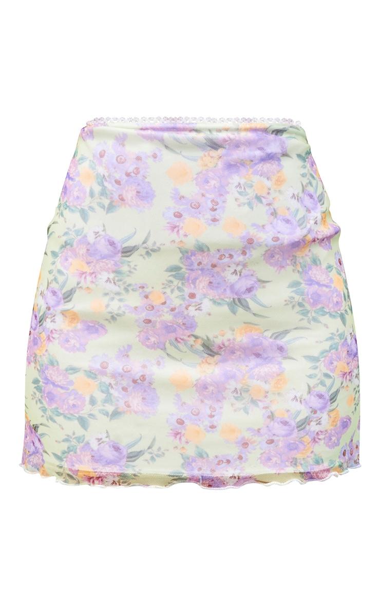 Lime Floral Lettuce Hem Skirt 6