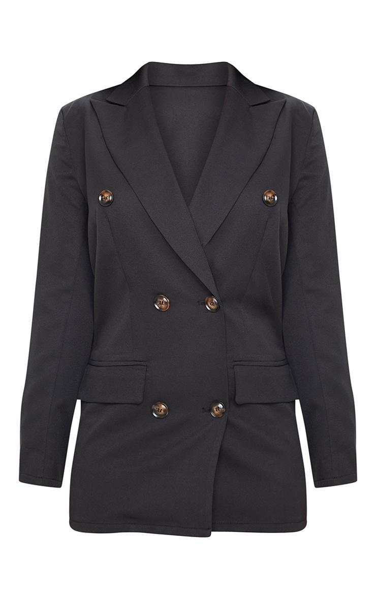 Petite Black Woven Oversized Longline Button Detail Blazer  3